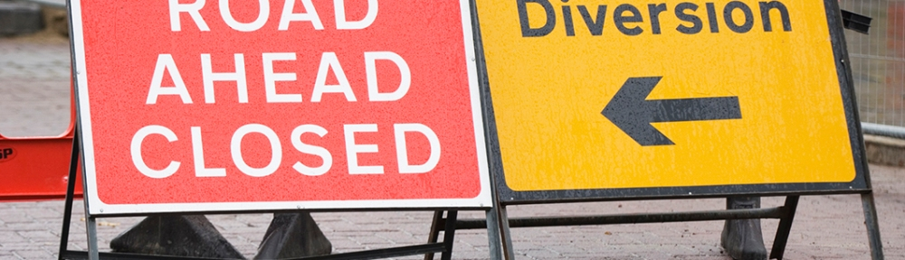 Road closure signs